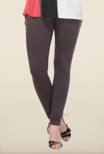 W Grey Solid Cotton Leggings