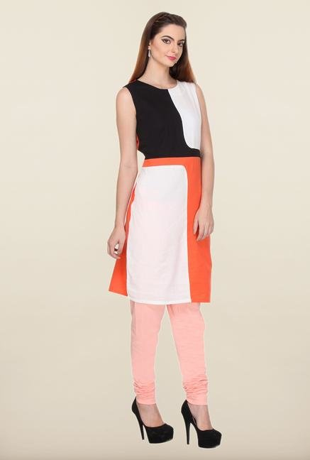 W Black & Orange Solid Cotton Kurti