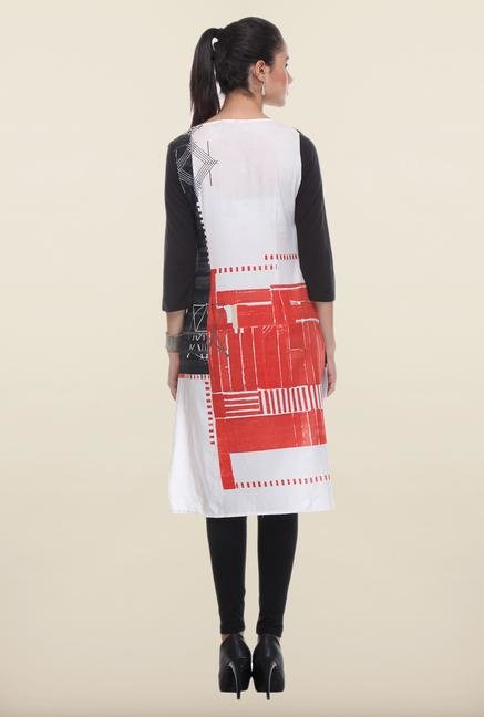 W White & Red Printed Kurta