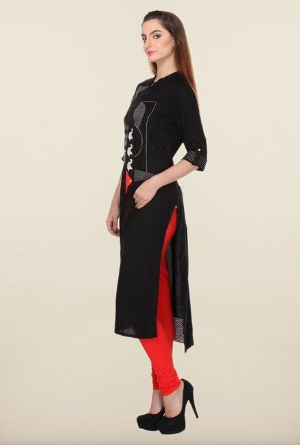 W Black Printed Backstitch Kurta