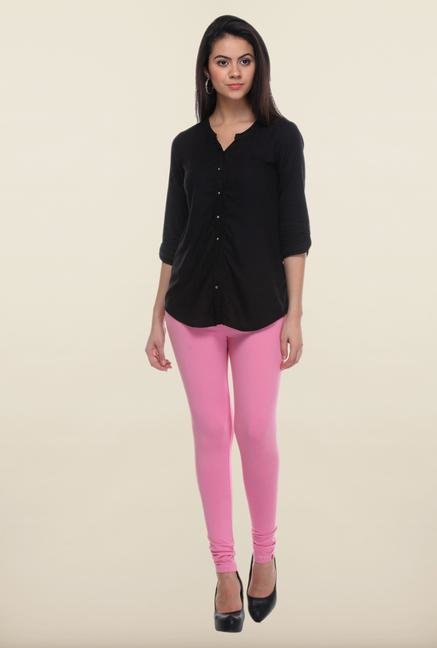 W Pink Solid Leggings