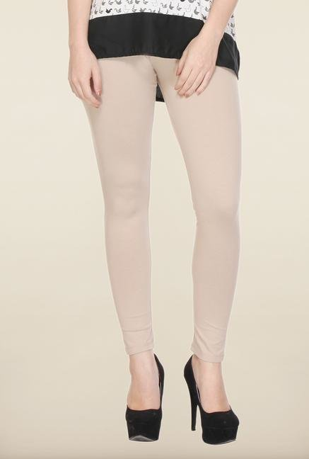W Beige Solid Cotton Leggings