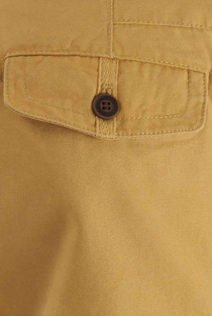 Shapes Ochre Solid Slim Fit Chinos