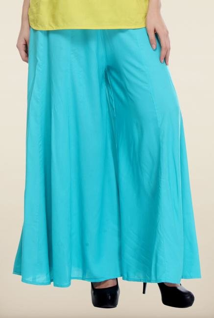 W Turquoise Solid Palazzo