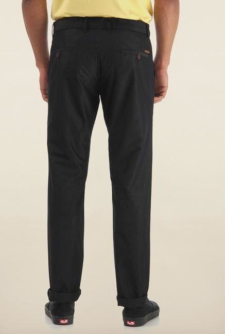 Shapes Black Solid Slim Fit Cotton Chinos