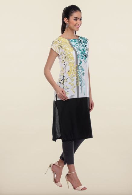 W Black & White Printed Cotton Kurta