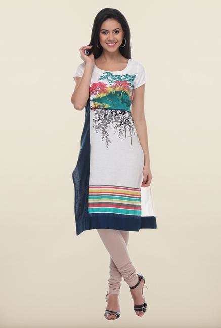 W White Forest Printed Kurta
