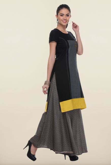W Black Printed Cotton Kurta