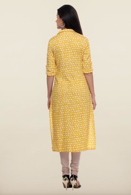 W Yellow Repeat Print Kurta