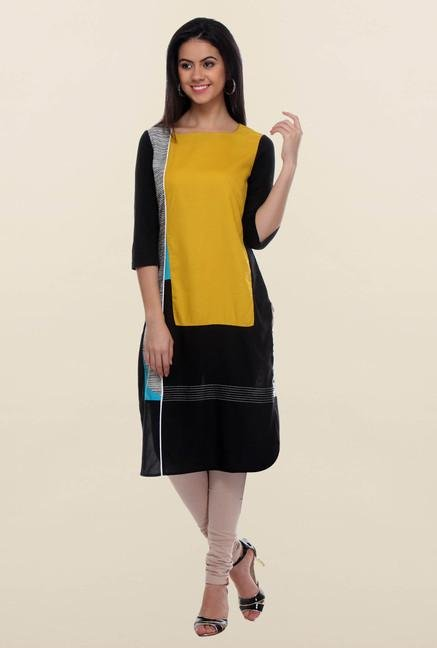 W Black & Yellow Kurta
