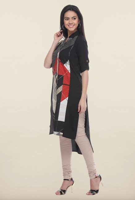 W Black Regular Fit Kurta