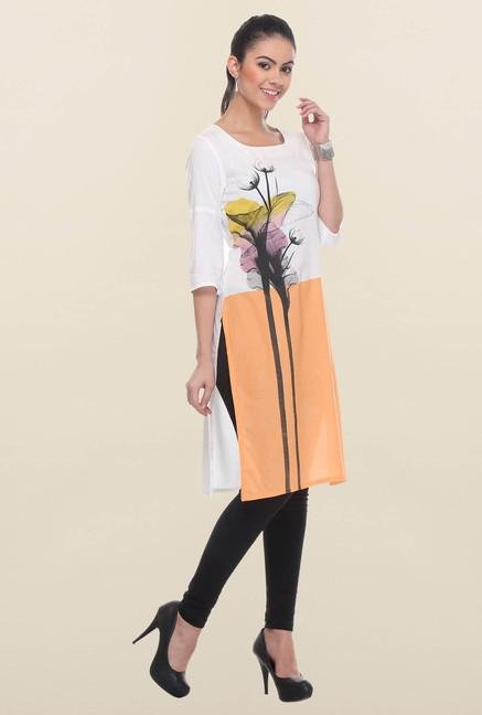 W White & Orange Printed Kurta