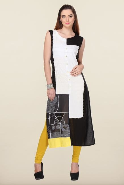 W Black & White Solid Kurta