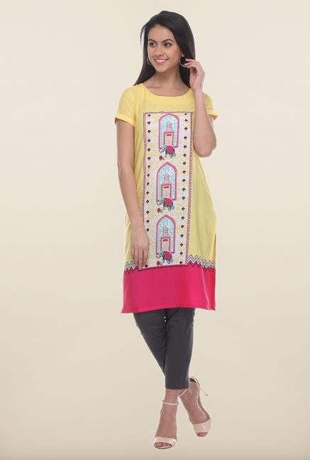 W Yellow Micro Checked Printed Kurti