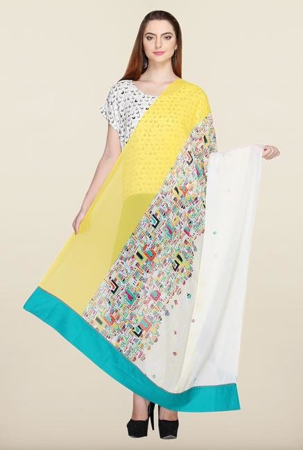 W White & Yellow Printed Dupatta