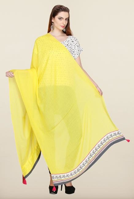 W Yellow Cotton Dupatta