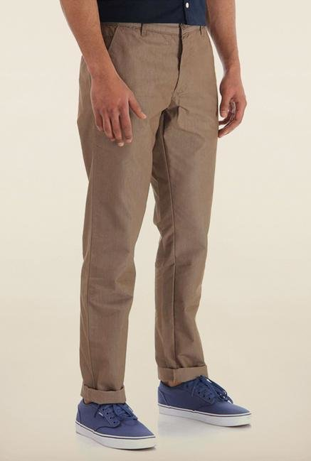 Shapes Khaki Solid Cotton Chinos