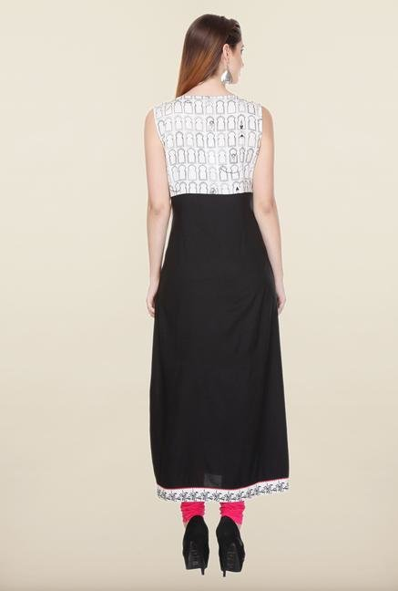W Black & White Sleeveless Kurta