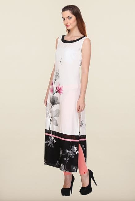 W White Flower Printed Kurta