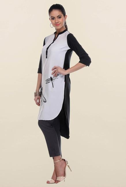 W Black & White Dragonfly Printed Kurti