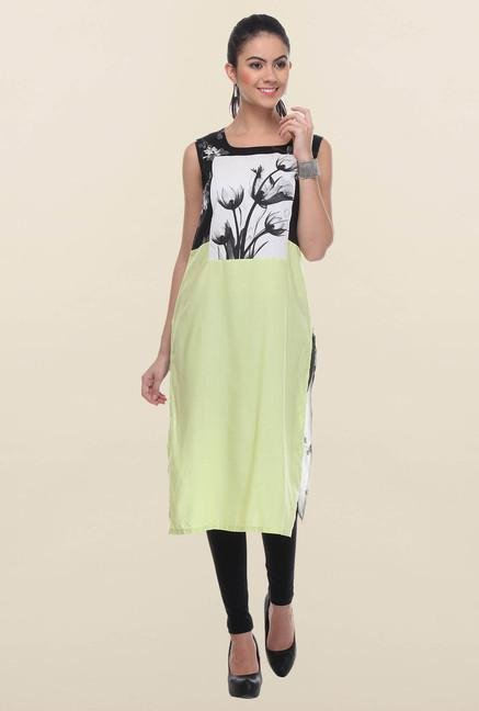 W White & Lime Printed Kurta