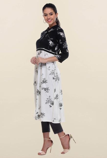 W Black & White Printed Kurta