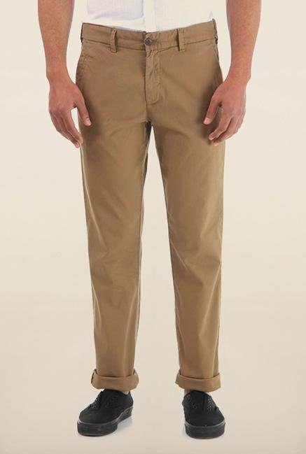 Shapes Khaki Solid Slim Fit Cotton Chinos