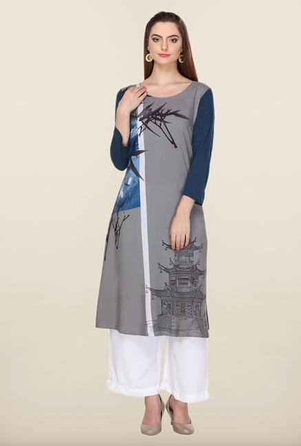 W Grey & Teal Blue Printed Kurta