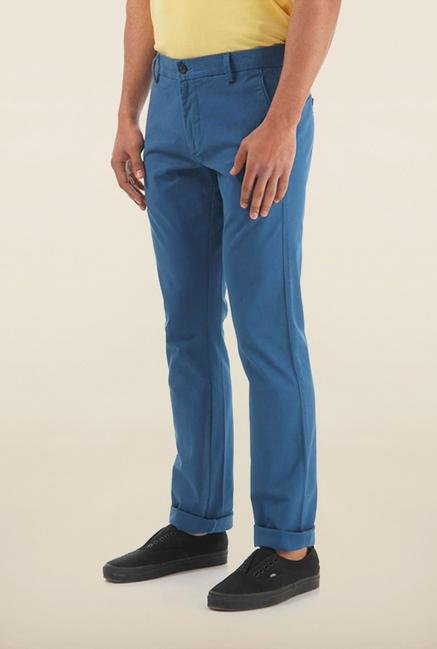 Shapes Blue Solid Slim Fit Chinos