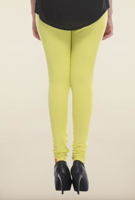 W Lime Green Solid Leggings