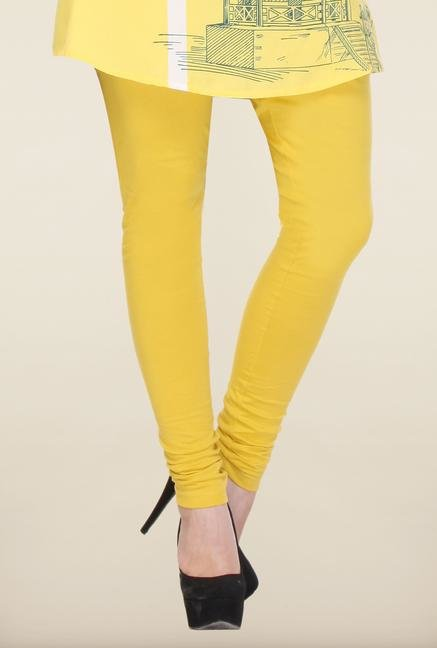 W Yellow Solid Cotton Leggings