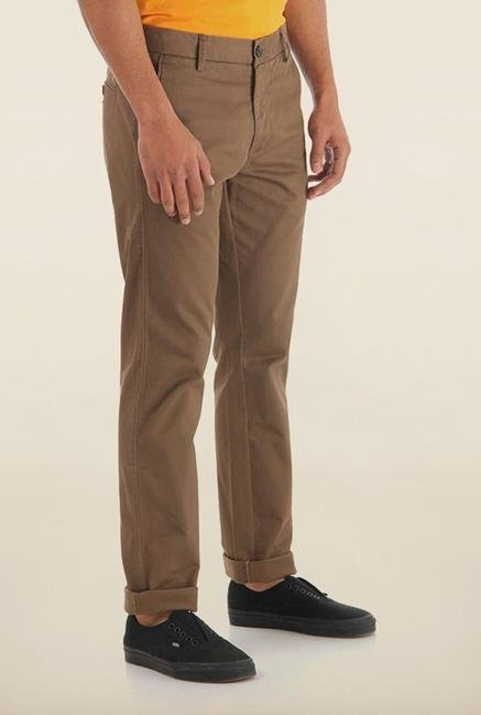 Shapes Brown Solid Slim Fit Chinos