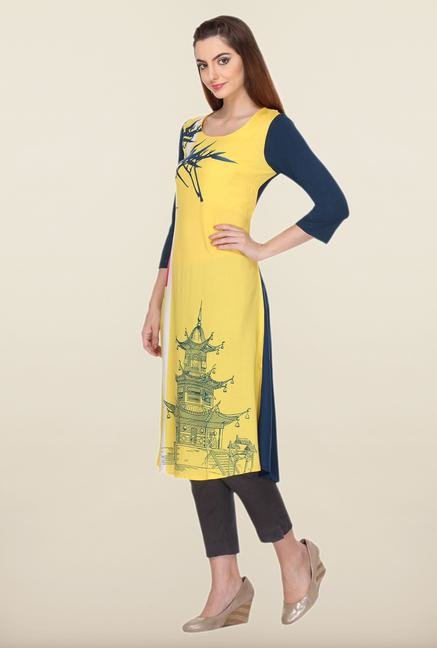 W Yellow & Navy Printed Kurta