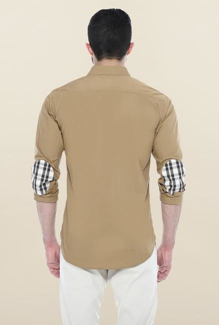 Basics Khaki Solid Casual Shirt