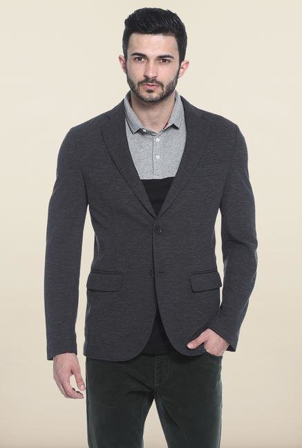 Basics Black Slim Fit Casual Blazer