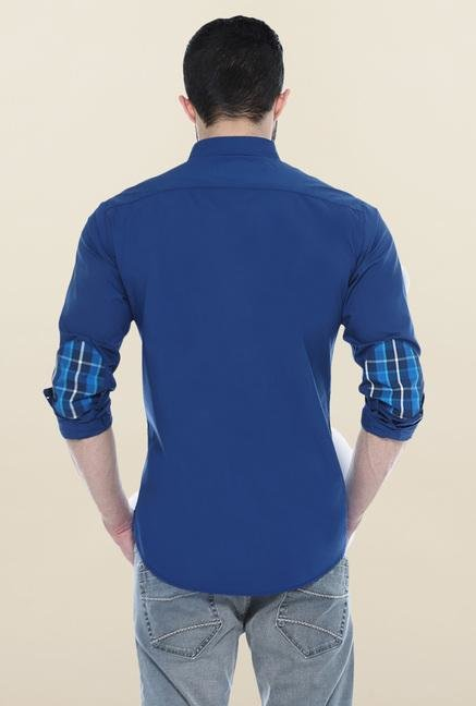 Basics Blue Cotton Slim Fit Casual Shirt