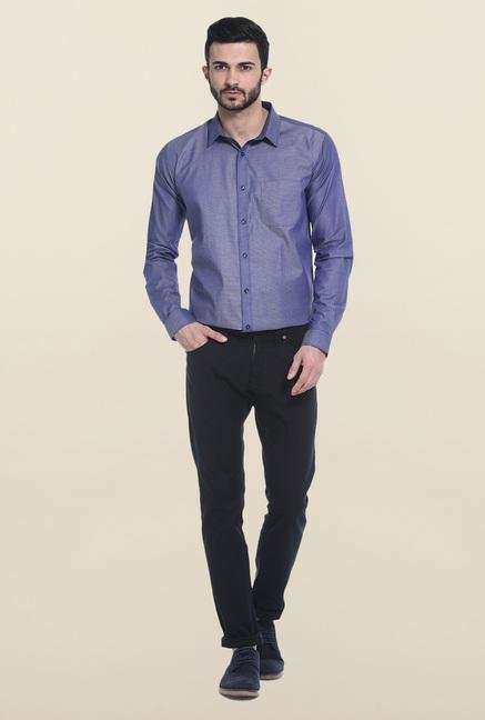 Basics Navy Printed Cotton Casual Shirt