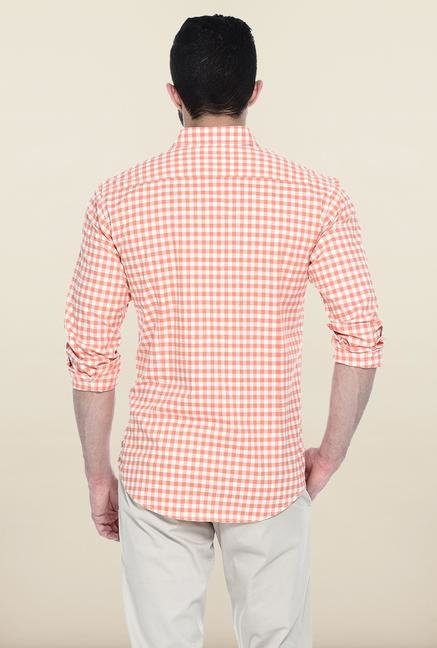 Basics Orange Checks Button Down Casual Shirt