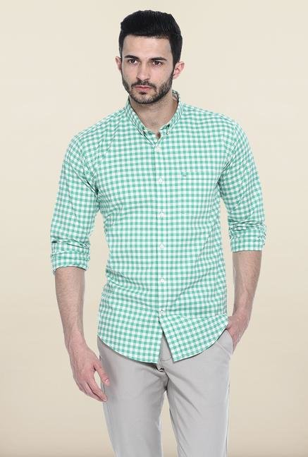 Basics Green Checks Casual Shirt