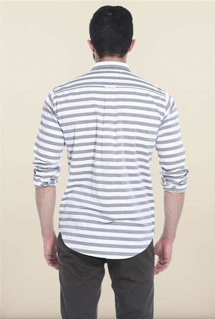 Basics White And Grey Striped Casual Shirt