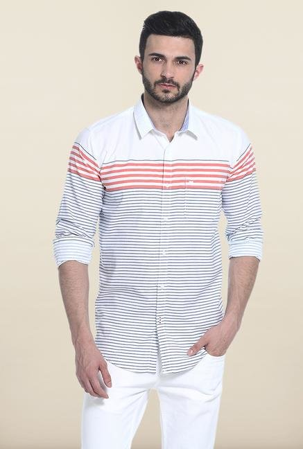 Basics White And Red Striped Casual Shirt
