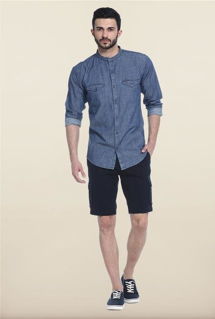 Basics Denim Blue Slim Fit Casual Shirt