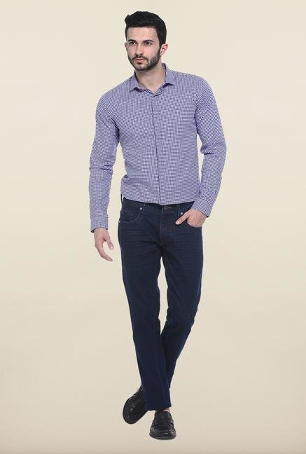 Basics Navy Blue Raw Denim Slim Fit Jeans