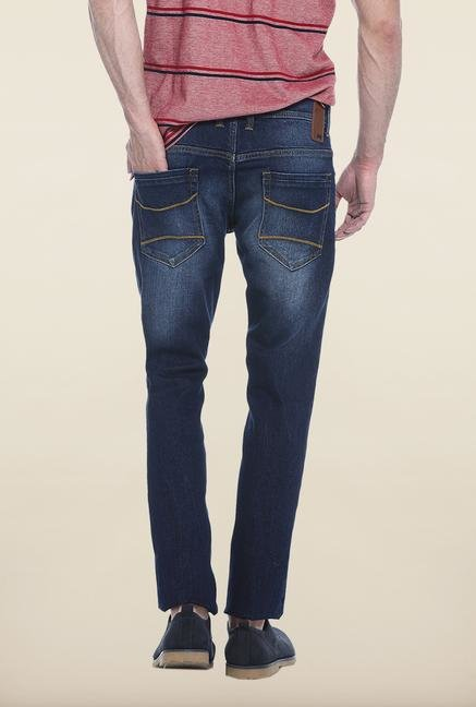 Basics Blue Lightly Washed Slim Fit Jeans