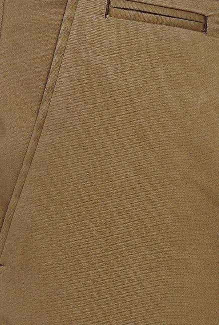 Basics Khaki Solid Straight Fit Chinos