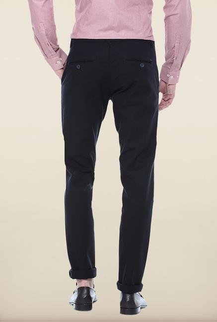 Basics Black Solid Straight Fit Chinos