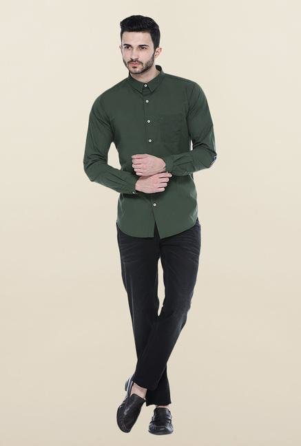 Basics Green Solid Casual Shirt