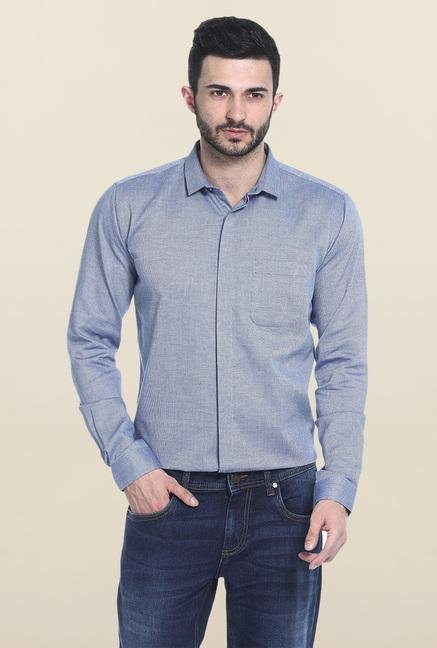 Basics Navy Self Print Cotton Casual Shirt