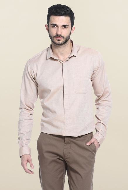Basics Mid Brown Self Print Cotton Casual Shirt