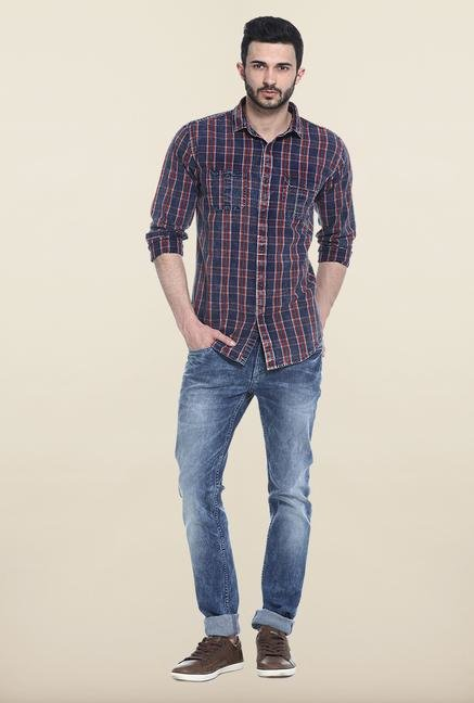 Basics Red And Blue Checks Casual Shirt